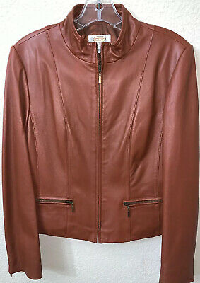 Talbots Petite Women's Leather Jacket Sz 0 Brown Zipper Closure & Zip Details