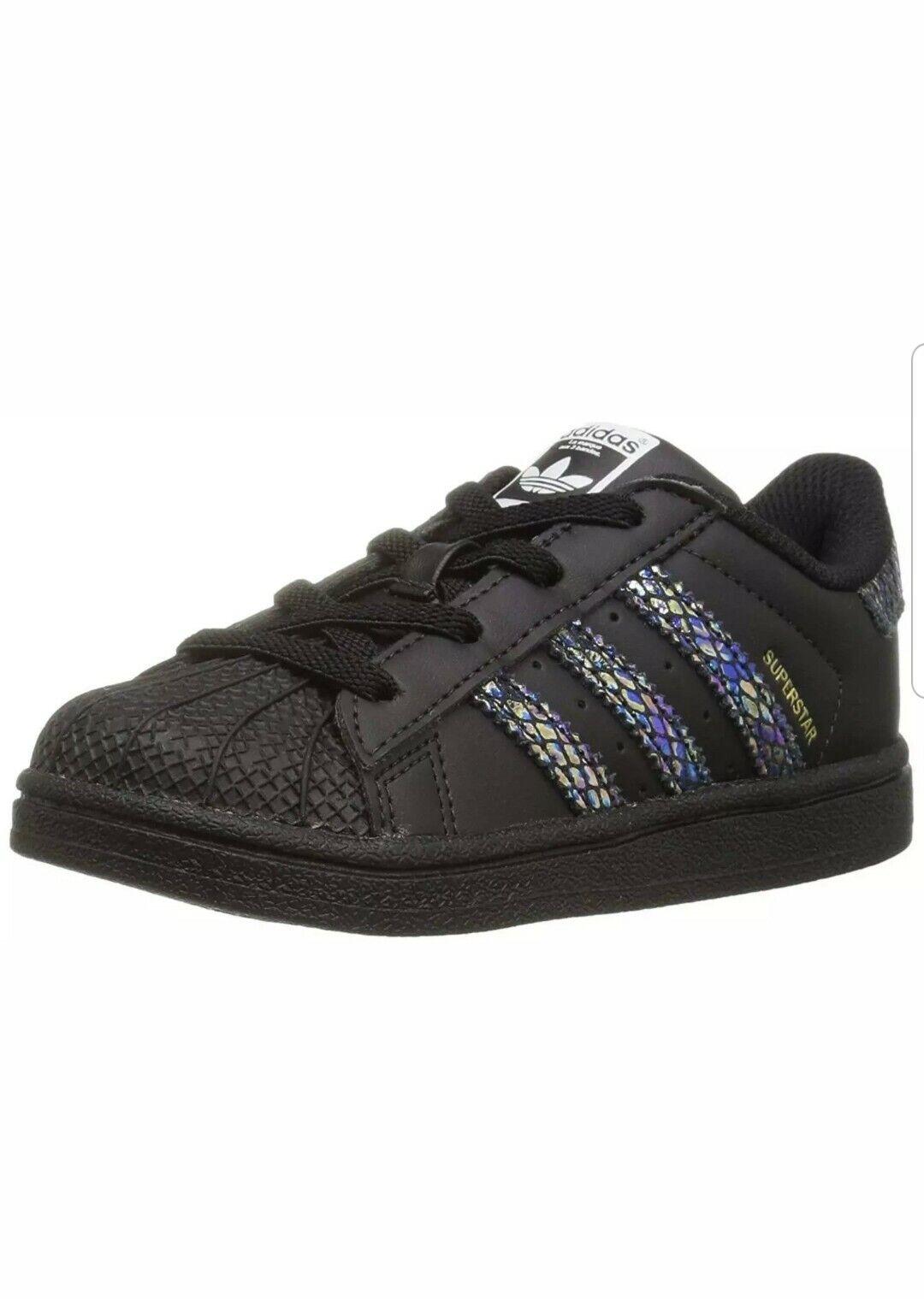 adidas Originals Baby Superstar EL I Black Rainbow Snake Size 4 M US Toddler 1