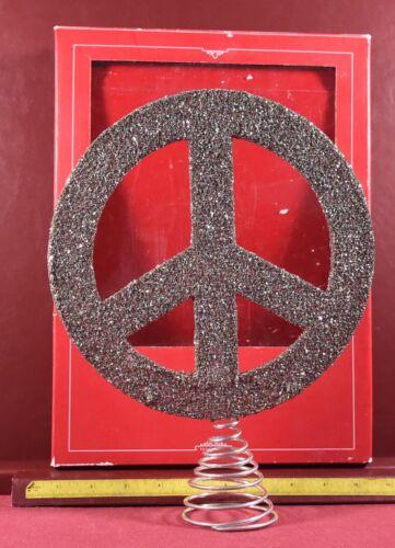 Peace Sign Christmas Tree Topper Pottery Barn Silver Glass Glitter Ornament w bo