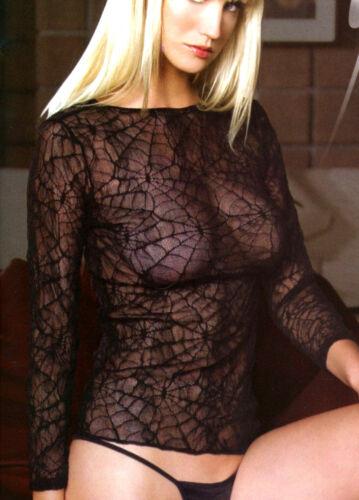 Women Fishnet Top Spider Lace Shirt Long Sleeve Reg Black Black Leg Avenue 8767
