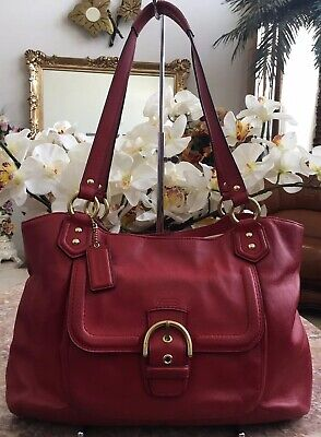 COACH Campbell Red Leather Belle Carryall Shoulder Bag F24961 EUC, MSRP $418