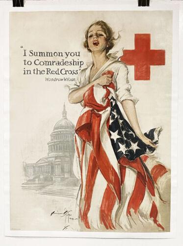Original US WWI Poster, Harrison Fisher, I Summon You Red Cross, rare beautiful