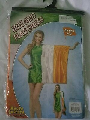 NEW Rasta Imposta Ireland Flag Dress Adult Costume Fits Womens Size 4-10 SEXY - Rasta Woman Costume