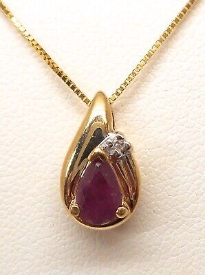 10K YELLOW GOLD GENUINE PEAR SHAPED RUBY AND DIAMOND NECKLACE Pear Shaped Ruby Necklace