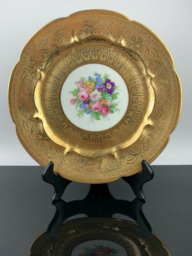 "Haviland France Plate Decorated Gold & Floral 10.5"" Diameter"