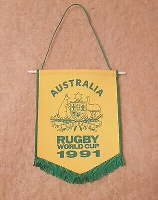 122716 AUSTRALIA RUGBY UNION WALLABIES GAME DAY FLAG ON STICK GREEN AND GOLD