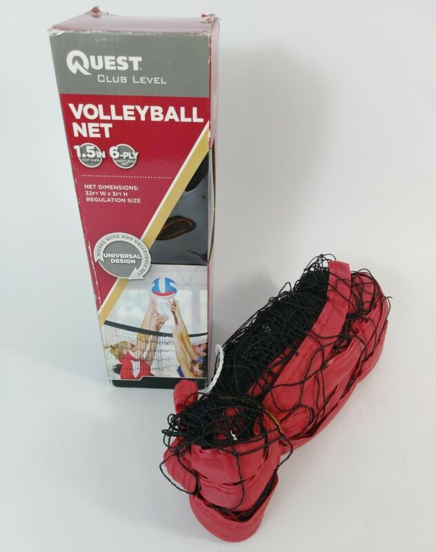 Regulation Size Volleyball Net Quest Club Level Outdoor 32FT x 3FT RED BLACK