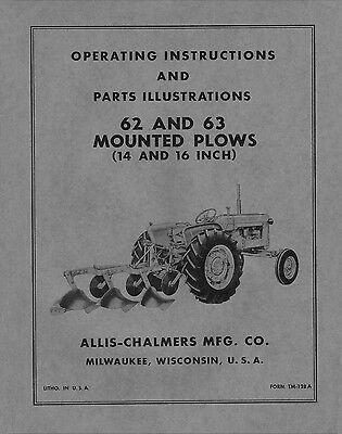 Allis Chalmers 62 63 Mounted Plows Operators - Parts Manual Tm-128