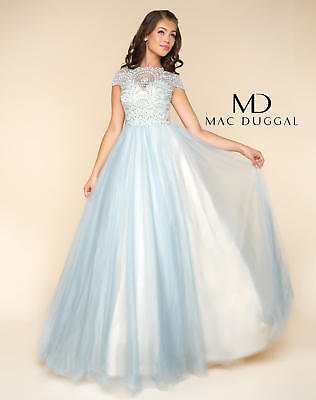 NEW MAC DUGGAL 48412H Powder Baby Blue Beaded Princess Tulle Ball Gown Dress 12