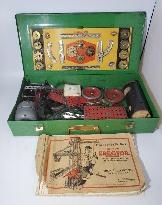 "Vintage Gilbert ERECTOR SET in Original Green Metal Case 17""X 9"""