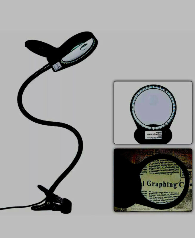 Holulo Magnifying Glass Lamp with Clamp, 3X 10X LED Desktop Lamp Magnifier
