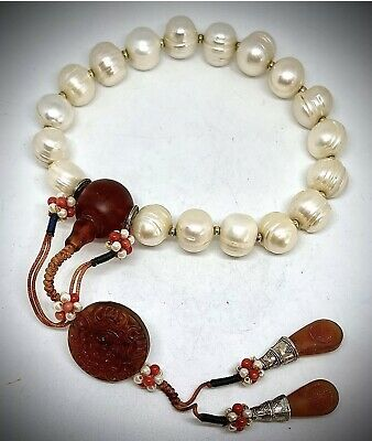 Amber Bracelet Lovely  Art Glass Tribal Style Beaded Tibetan Silver Bangle
