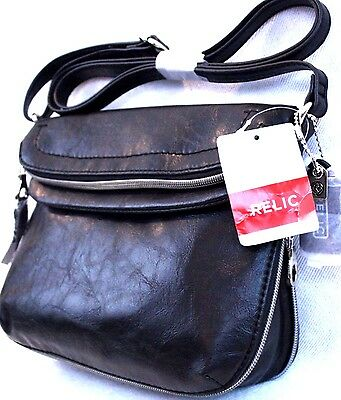 Relic By Fossil Nwt Expandable Black Faux Leather Crossbody Bag Retail  54 00
