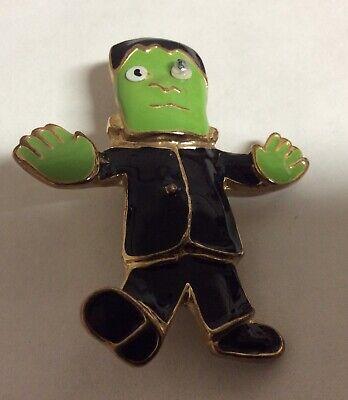 "VTG Frankenstein Halloween Pin Brooch Green Enamel Gold Tone 2"" High Novelty"