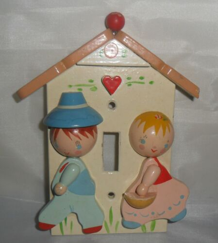 Vintage Originals by IRMI ~ Cute Boy & Girl Wooden Light Switch Cover