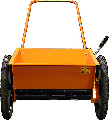 Hydromann mini 60 walk behind drop salt and sand spreader