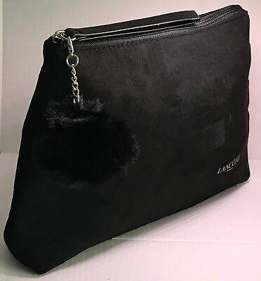 Lancome Black Cosmetic Makeup Clutch Bag W/ Removable Pom Pom NIP New 2018