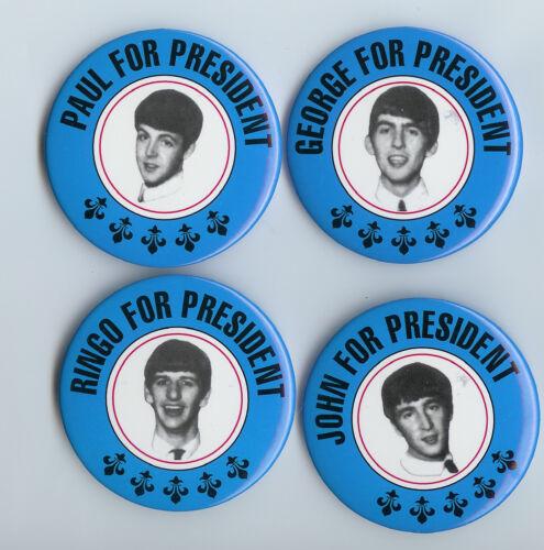 THE BEATLES PRESIDENT 1964 BUTTONS, PINS,  PINBACKS MINT SET OF 4.