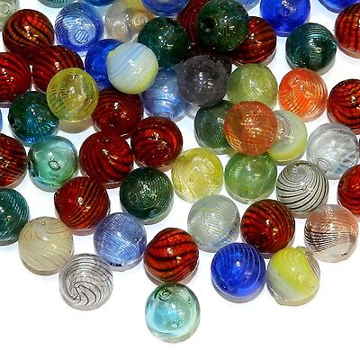 G4490 Assorted 12mm Round Blown Lampwork Glass Beads - Lampwork Glass Beads