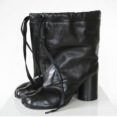 892297036cd MAISON MARTIN MARGIELA split toe black leather high heel shoes tabi boots  37 NEW