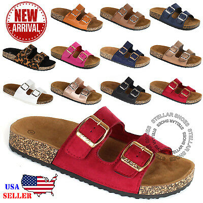 487182cc4c17 NEW Women s Slide Buckle T-Strap Cork Footbed Platform Flip Flop Shoes  Sandals