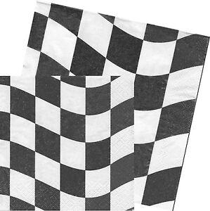 serviettes en papier carreaux noir et blanc paper napkins black white check ebay. Black Bedroom Furniture Sets. Home Design Ideas