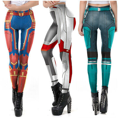 ptain Marvel Womens Sport Yoga Gym Jogging Leggings Pants (Marvel Leggings)