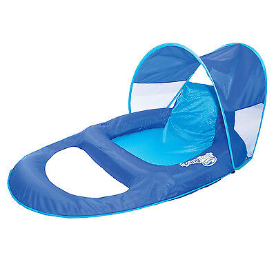 SwimWays Spring Float Recliner Pool Lounge Chair w/ Sun Canopy, Blue | 13022