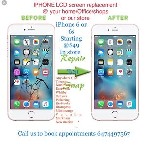 iPhone screen lcd replacement @ your home/office or our store