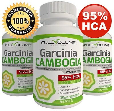 3 X Bottles 180 Capsules 3000Mg Daily Garcinia Cambogia Hca 95  Weight Loss Diet