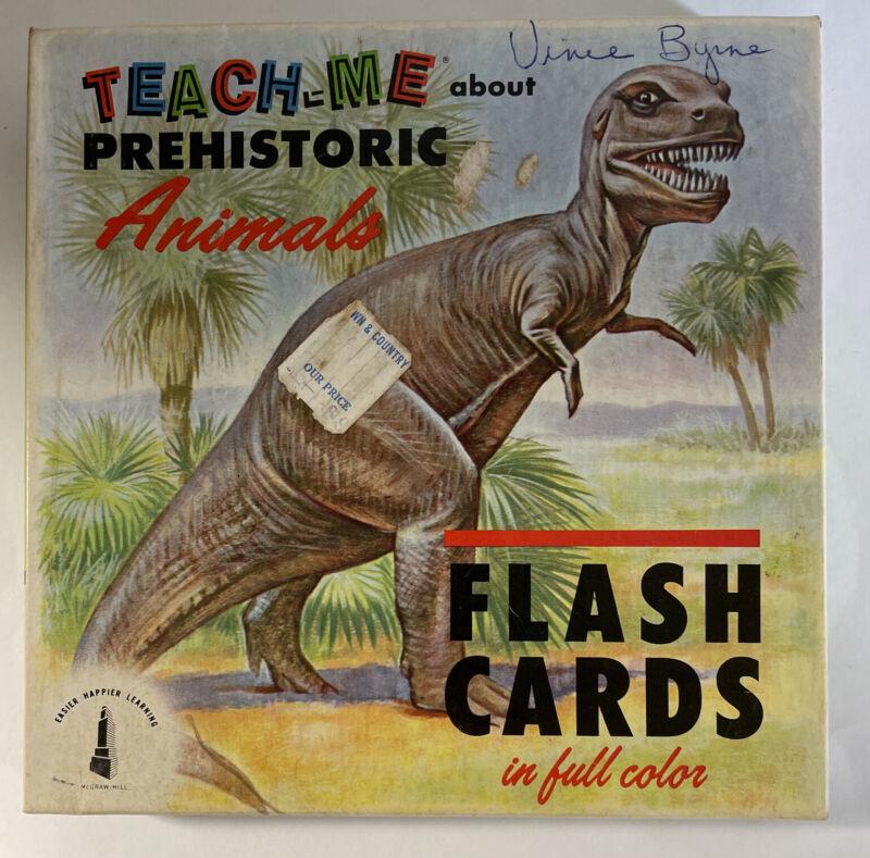 Vintage 1962 Teach-Me Prehistoric Animals Flash Cards | Full Color | 47 Cards