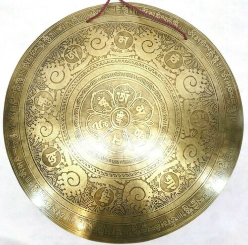 19 inches Diameter Mantra carved gong-temple gong-Handmade gong from Nepal-yoga