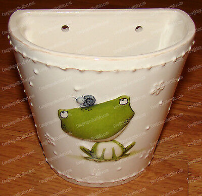 Frog Wall Pocket, Planter (Stacey Yacula Joyful Garden, 4050794) Stoneware