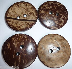 8 Large Round Natural Coconut Shell Buttons Craft Excellent Quality 38mm 1.5