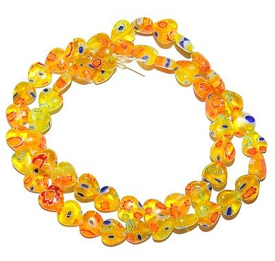 8mm Millefiori Glass - G3476 Golden Yellow with Multiple Flowers 8mm Heart Millefiori Glass Beads 15