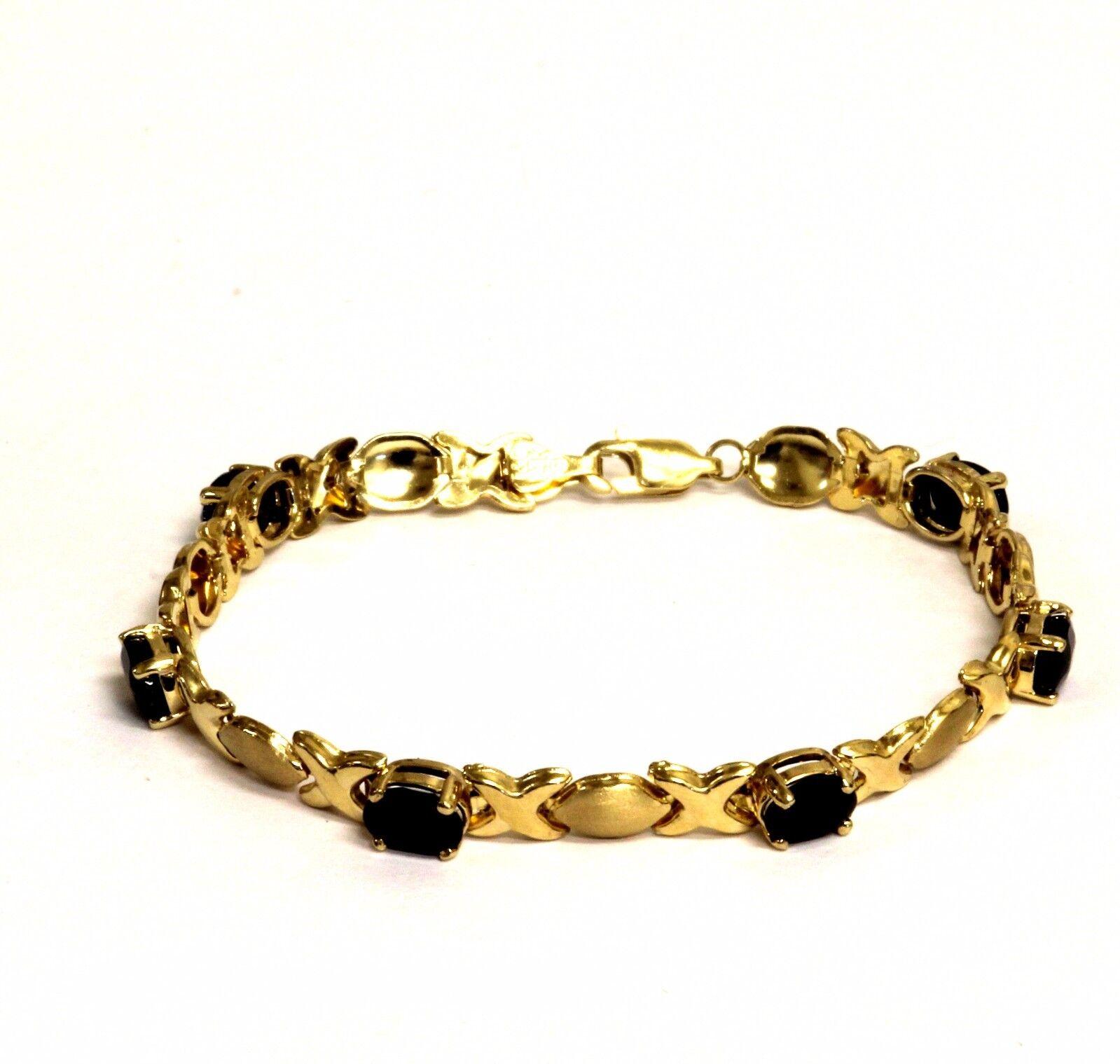14k Yellow Gold Sapphire Xoxo Tennis Bracelet 7.5g Estate