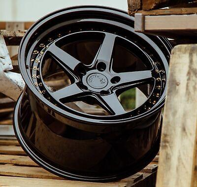 18x9.5 5x114.3 +22 Aodhan DS05 Gloss Black 18 Inch Wheels Set 4