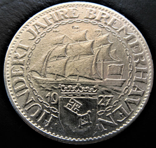 Scarce 1927 A 3 Mark Bremerhaven German Weimar Germany 100 Anni Ship Silver Coin