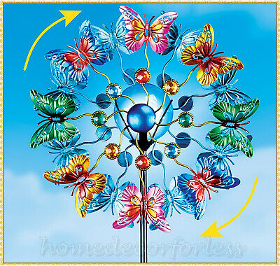Colorful Butterflies Double SOLAR Lighted Garden Wind Spinner Stake Yard Decor