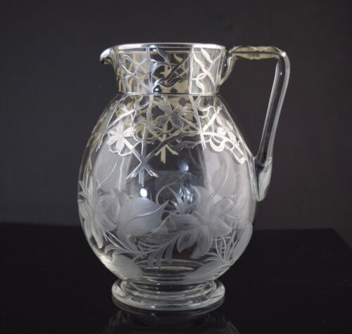 Antique Sterling Silver Overlay Cut Engraved Glass Water Pitcher Flowers