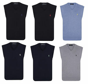 Polo-Ralph-Lauren-Cotton-Jersey-V-Neck-Jumpers-Sleeveless-Fitted-Pullovers