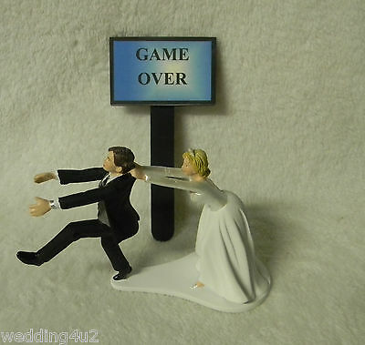 Wedding Reception Party Running Groom  Game Over Sign  Cake Topper - Wedding Reception Games