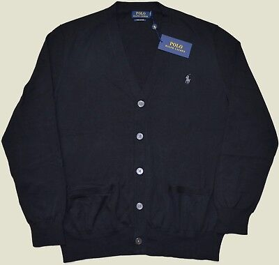 New Large L POLO RALPH LAUREN Men button down cardigan sweater black pima cotton