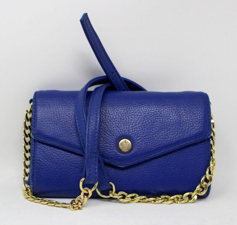 Stella & Max Leather Crossbody Smartphone Wallet w/ Gold Chain Blue