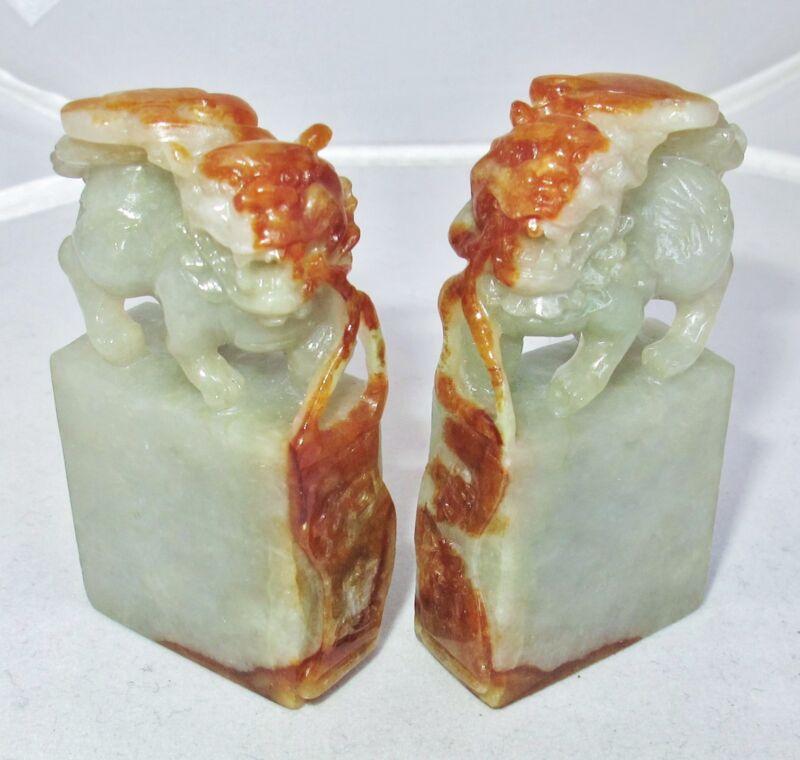 """2.5"""" Pair Chinese Carved Green & Orange JADEITE Jade Foo Dog Chop Seal Pendants"""