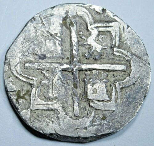 1500s Spanish Silver 2 Reales Genuine Antique Philip II Colonial Pirate Cob Coin