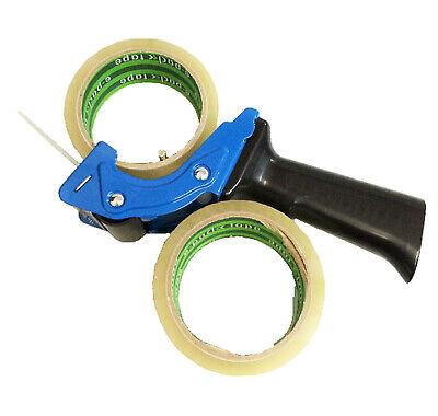 Blue 2 Inch Tape Gun Dispenser Packing Packaging Cutter  2 Rolls Tape