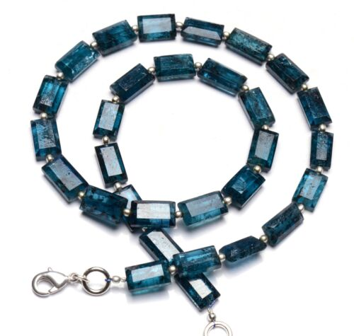 """Natural Gem Green Imperial Kyanite Faceted Nugget Beads Necklace 16.5"""" 140Ct."""