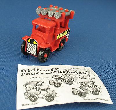 Oldtimer Feuerwehrautos - Rohrträger - Kurve Aufkleber links + BPZ - Ü-Ei 1987