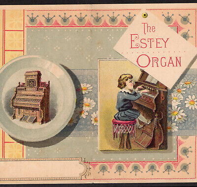 Estey Organ Brattleboro VT 1800's music Victorian Advertising Trade Card Folder